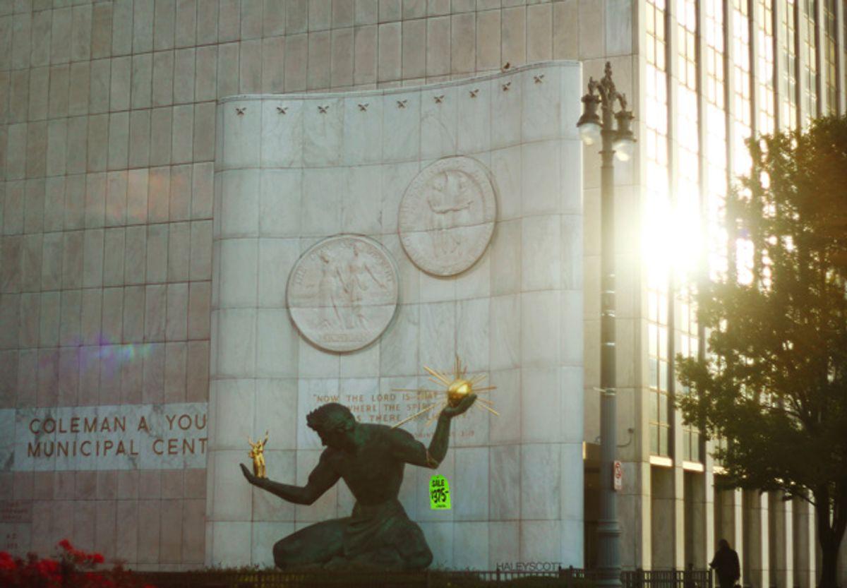 """Marshall Fredericks's """"The Spirit of Detroit"""" statue, on sale for $375          (Haley Scott)"""