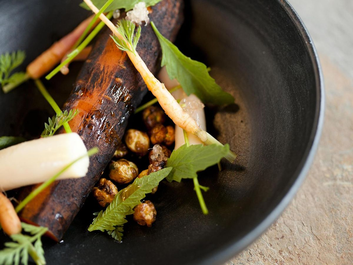 Ash roasted carrot at the Restaurant at Meadowood    (The Restaurant at Meadowood)