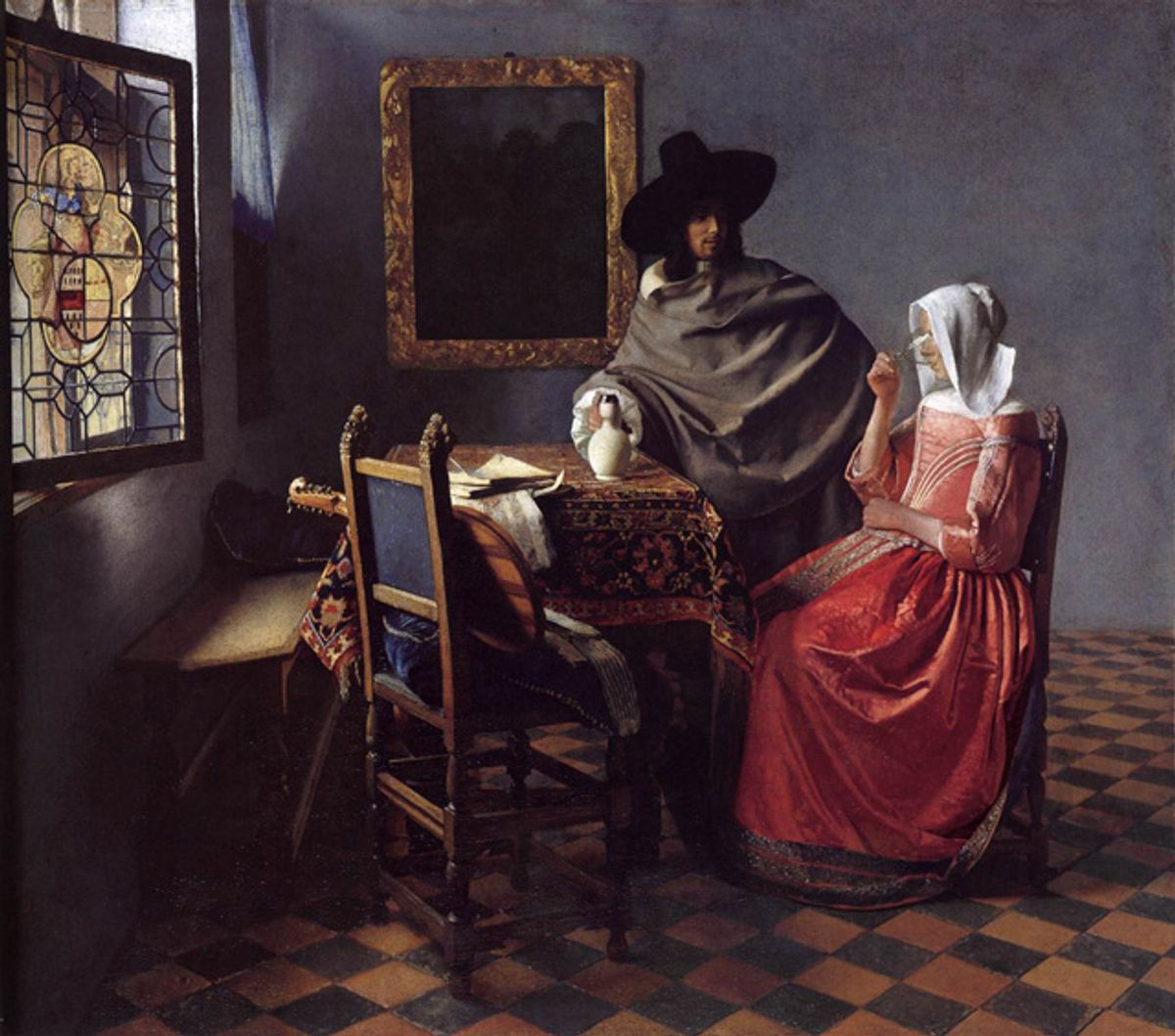"""Johannes Vermeer, """"A Lady Drinking and a Gentleman"""" (c. 1658), oil on canvas, 66.3 x 76.5 cm, Staatliche Museen, Berlin   (via Web Gallery of Art)"""