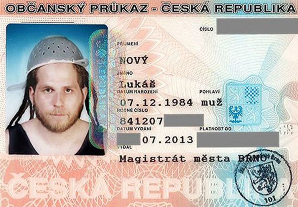 Lukas Novy claims that his Patsafarian faith means he is forced to wear the sieve at all times.