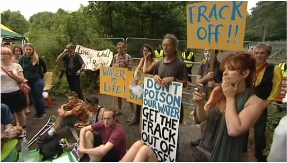 Protestors camp out in Balcombe, Sussex  (Screenshot, ITV News)