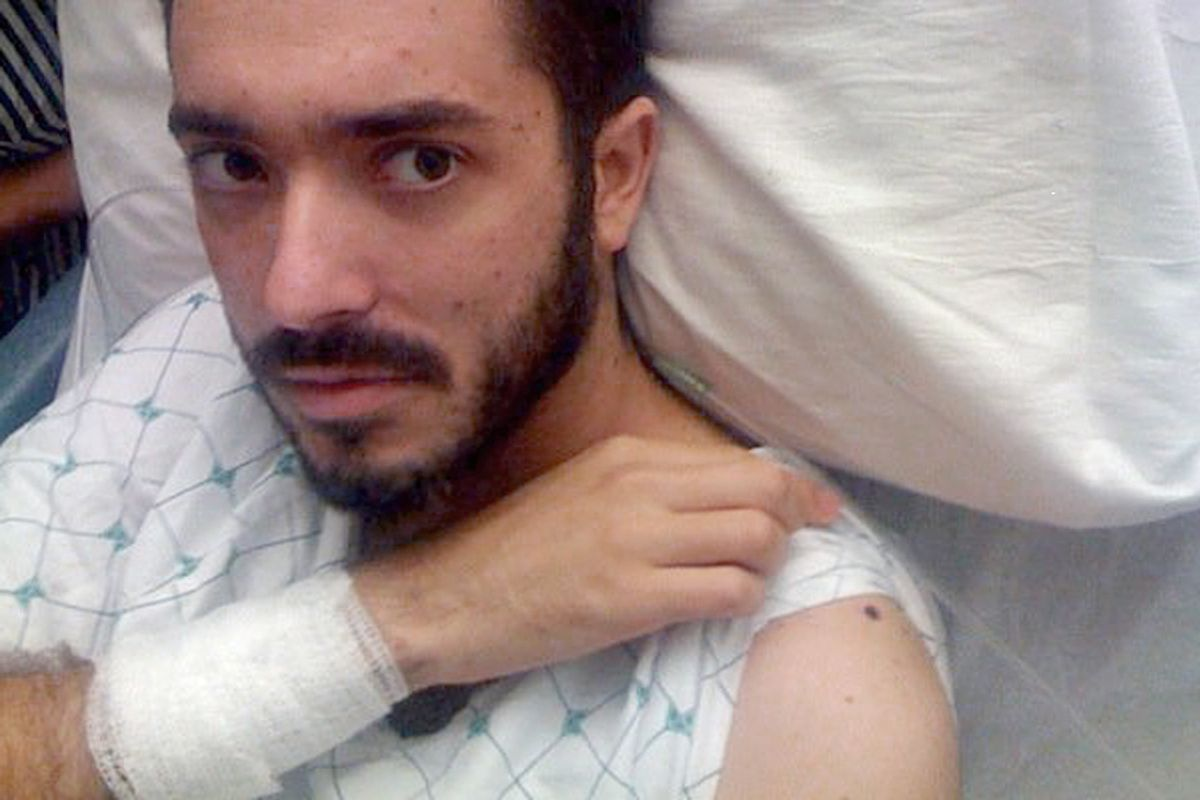 The author in the hospital, after being shot.