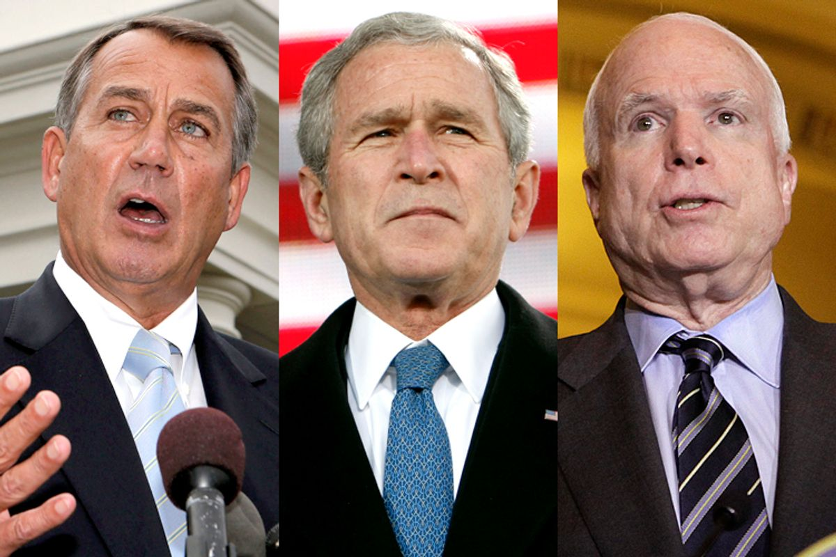 John Boehner, George W. Bush, John McCain                                   (Reuters/Larry Downing/Jim Young/Yuri Gripas)