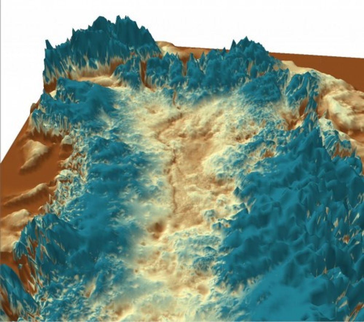 A 3-D rendering of the canyon buried under Greenland's ice sheet (J. Bamber, University of Bristol)