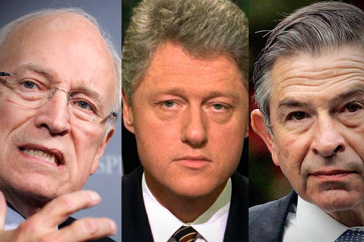 Dick Cheney, Bill Clinton, Paul Wolfowitz          (AP/Manuel Balce Ceneta/Greg Gibson/J. Scott Applewhite)