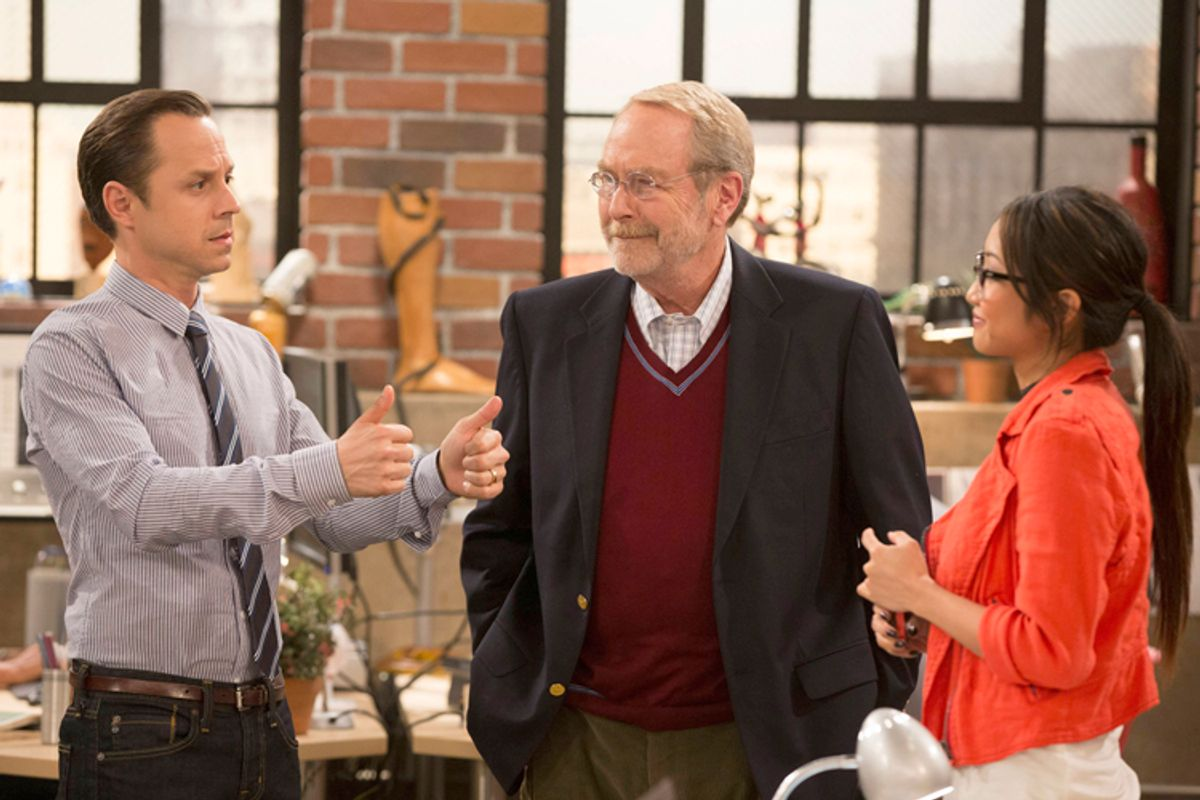 "Giovanni Ribisi, Martin Mull, and Brenda Song in ""Dads"" (FOX/Jennifer Clasen)"