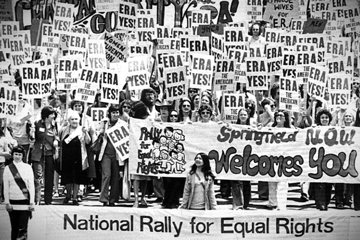An estimated 10,000 marchers descend on the Capitol building in Springfield, Ill to demonstrate for the passage of the Equal Rights Amendment, May 16, 1976.   (AP)