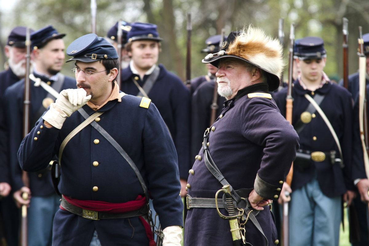 Federal reenactors before battle at Neshaminy State Park in Pennsylvania (Mike Cirilo, Narratively)