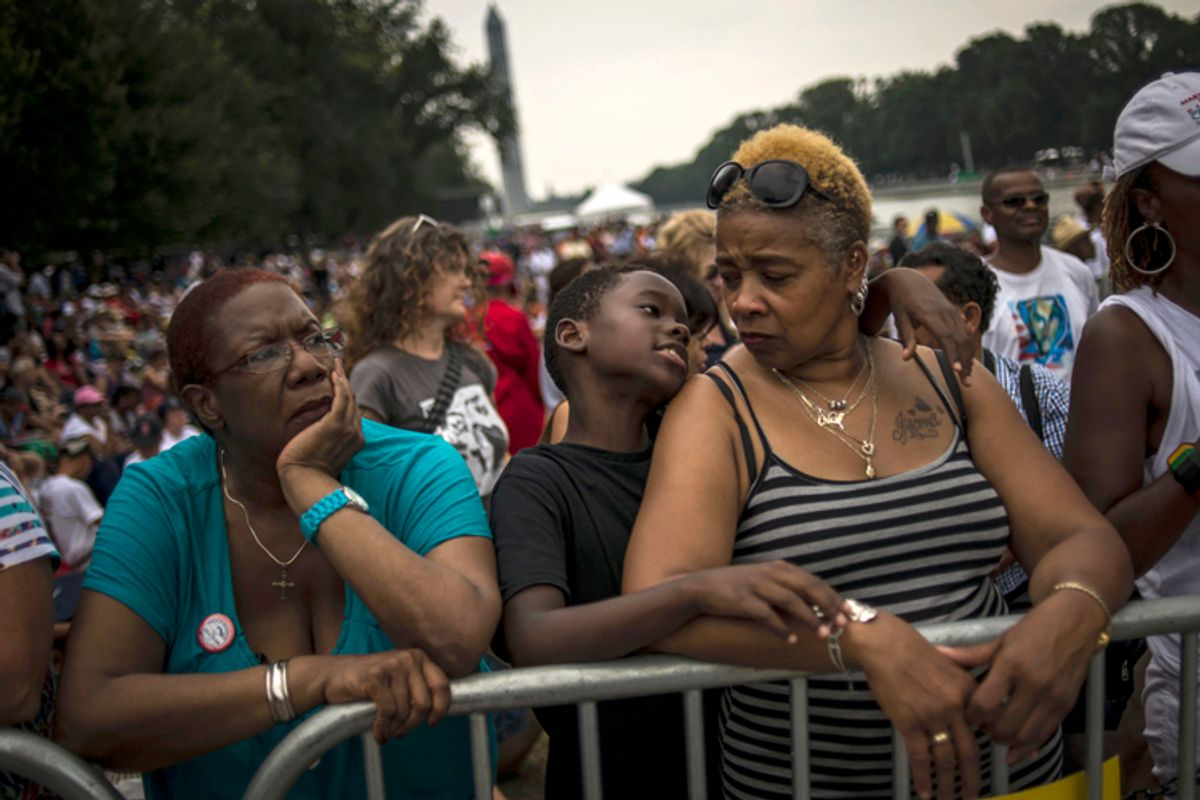 Crowds gather on the National Mall to commemorate the 50th Anniversary of the March on Washington August 28, 2013.   (Reuters/James Lawler Duggan)
