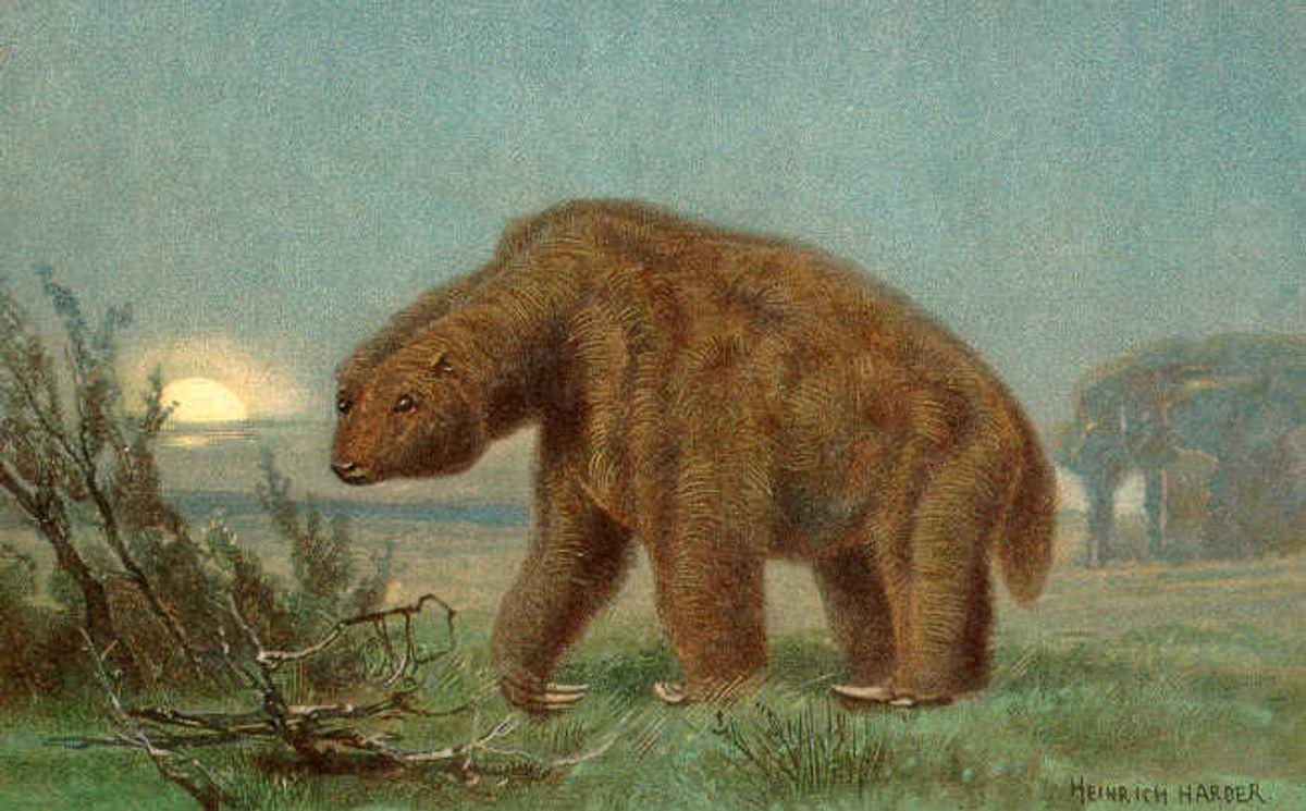 Artist's rendering of the extinct Megatherium   (The Wonderful Paleo Art of Heinrich Harder)