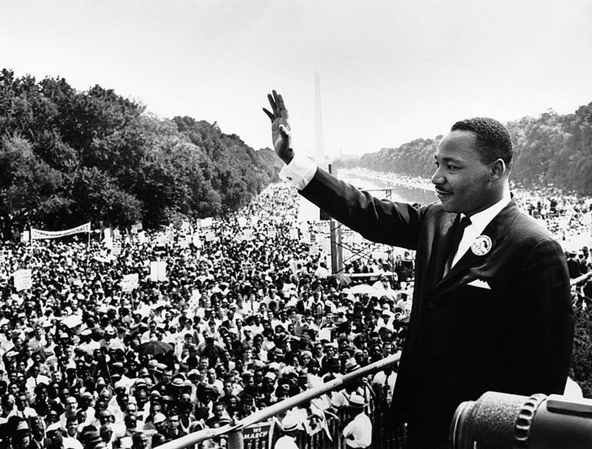 Martin Luther King Jr. addresses a crowd from the steps of the Lincoln Memorial where he delivered his famous speech during the Aug. 28, 1963, March on Washington, D.C.     (Wikimedia Commons)