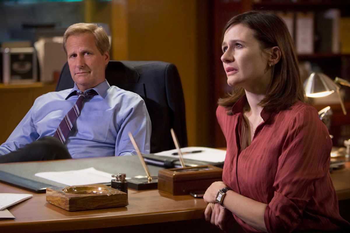 """Jeff Daniels and Emily Mortimer in """"The Newsroom""""         (HBO)"""