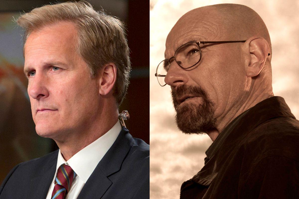 "Jeff Daniels in ""The Newsroom,"" Bryan Cranston in ""Breaking Bad""                    (HBO/AMC)"