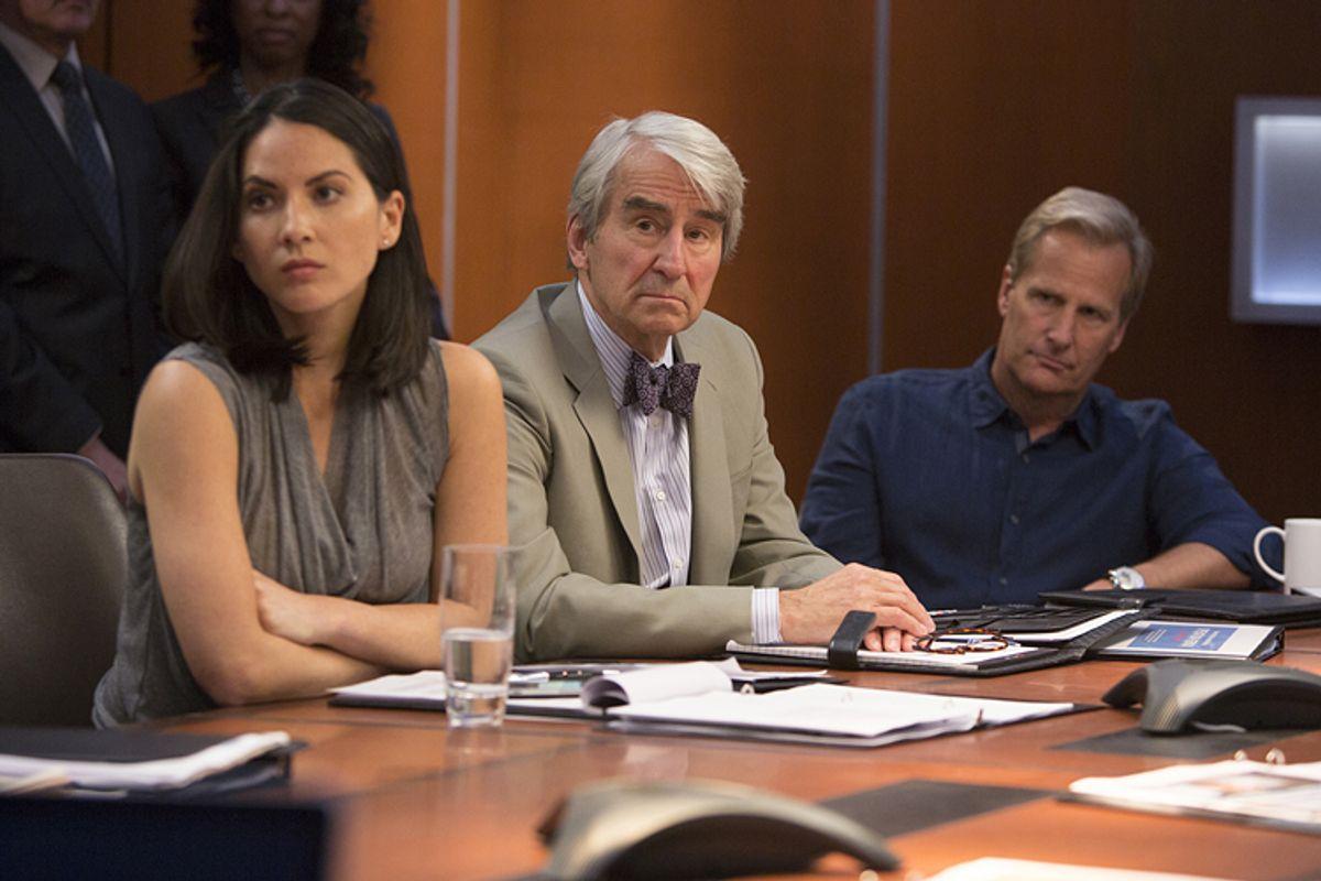 "Olivia Munn, Sam Waterston and Jeff Daniels in ""The Newsroom""          (HBO)"