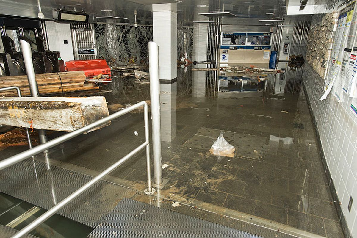 Manhattan's South Ferry subway station after it was flooded by seawater during Hurricane Sandy       (Wikimedia commons)
