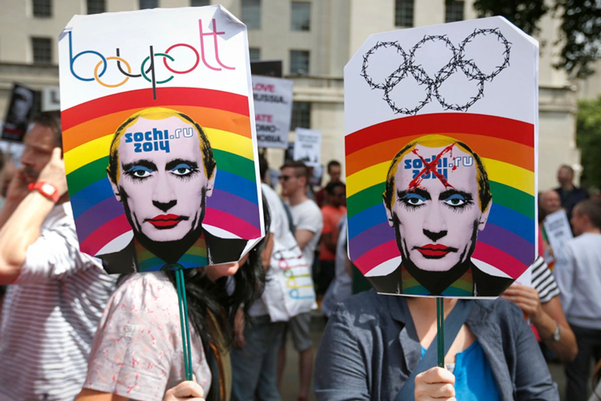 Protesters against the 2014 Winter Olympics being held in Sochi, Russia      (AP/Lefteris Pitarakis)