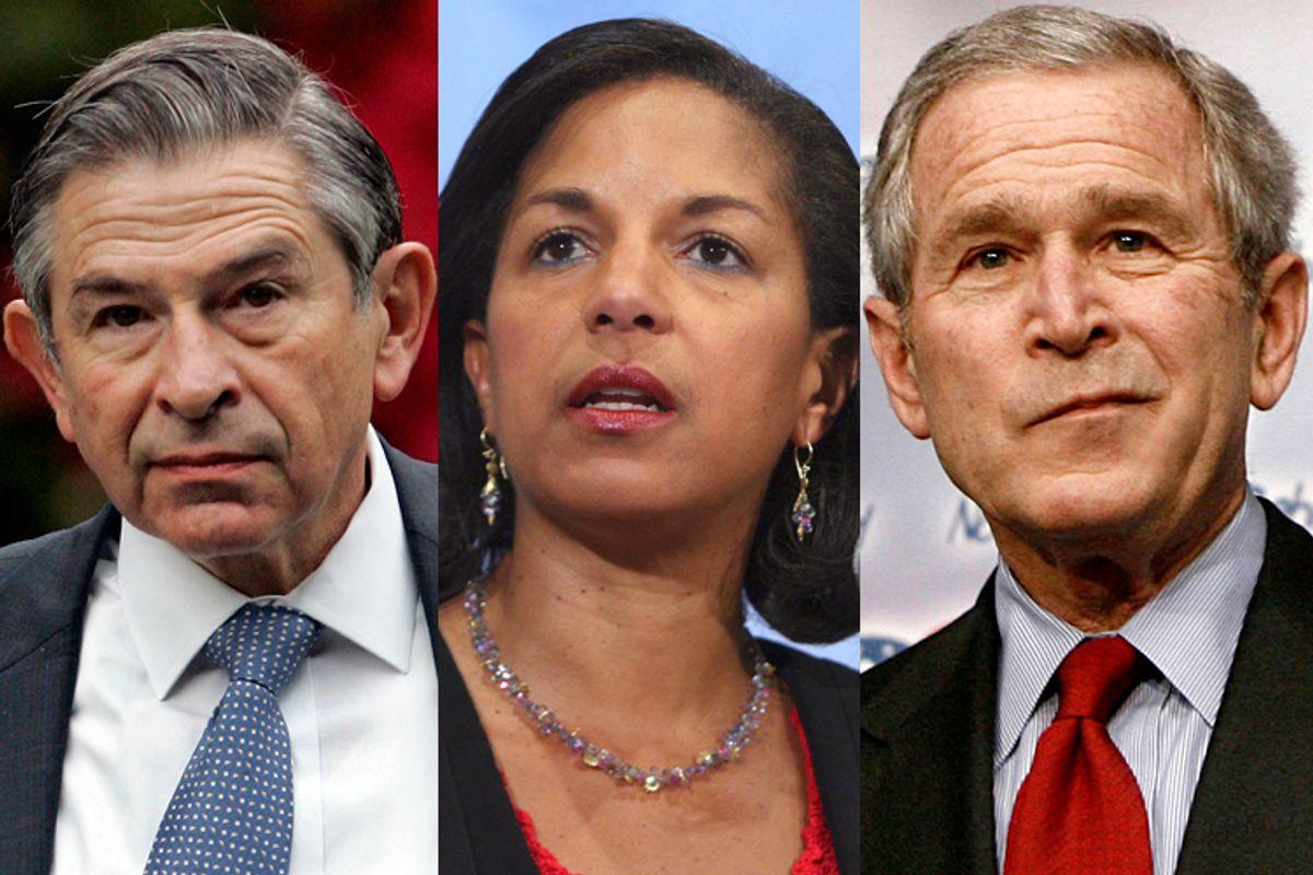 Paul Wolfowitz, Susan Rice, George W. Bush    (AP/J. Scott Applewhite/Devra Berkowitz/Reuters/Jason Reed)