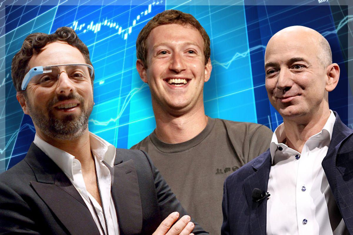 Sergey Brin, Mark Zuckerberg, Jeff Bezos            (Reuters/Carlo Allegri/Beck Diefenbach/AP/Matt Sayles/<a href='http://www.shutterstock.com/gallery-518599p1.html'>AshDesign</a> via <a href='http://www.shutterstock.com/'>Shutterstock</a>/Salon)