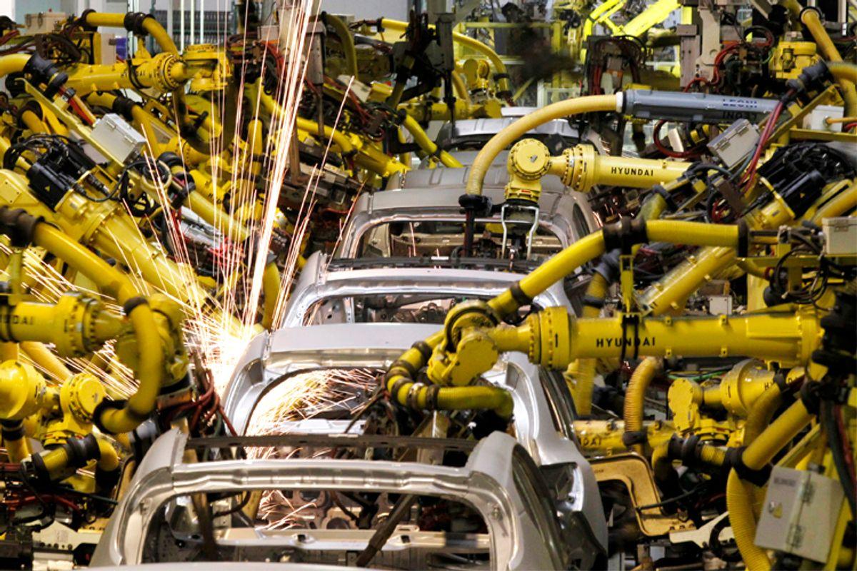Robotic machines weld bodies of Kia cars          (Reuters/Petr Josek Snr)