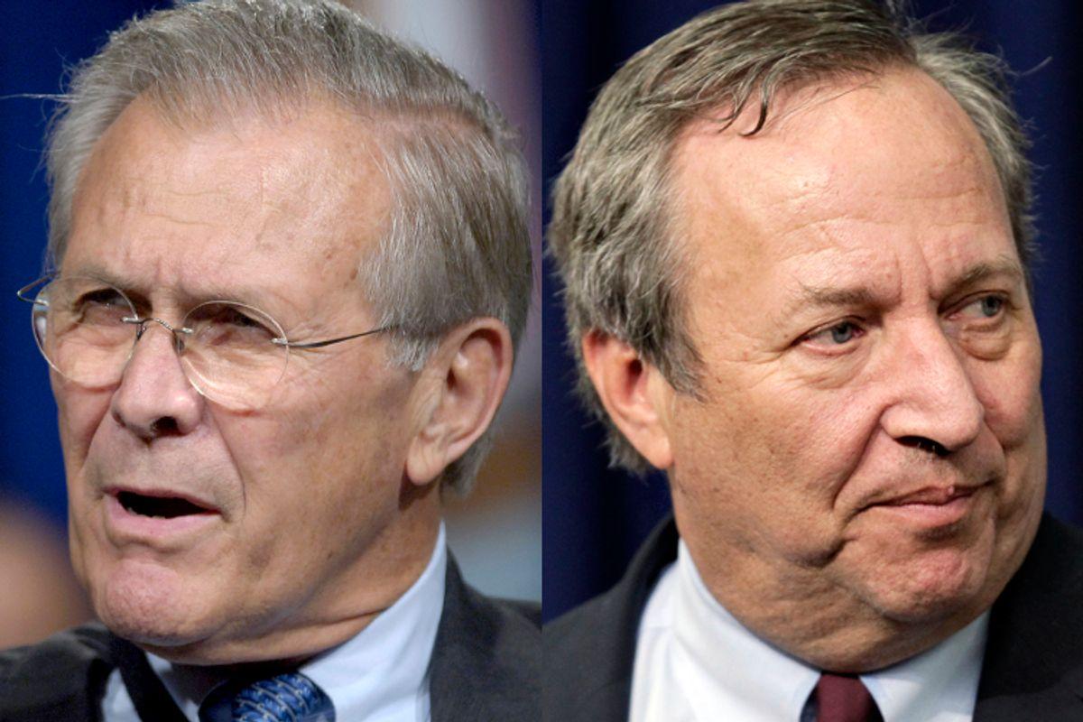 Donald Rumsfeld, Lawrence Summers       (Reuters/Jonathan Ernst/AP/J. Scott Applewhite)