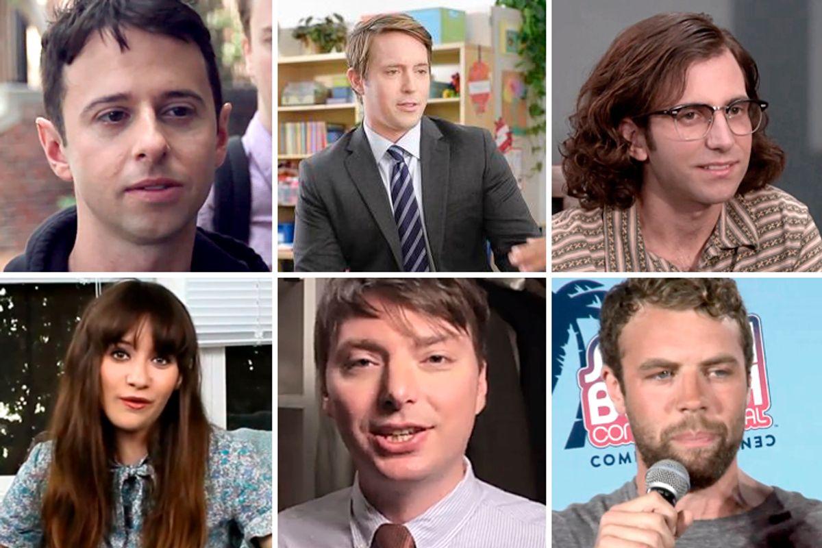 Clockwise, from top left: John Milhiser, Beck Bennett, Kyle Mooney, Noël Wells, Mike O'Brien, Brooks Wheelan