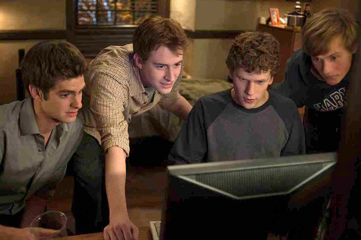 "Andrew Garfield, Joseph Mazzello, Jesse Eisenberg and Patrick Maple in ""The Social Network."""