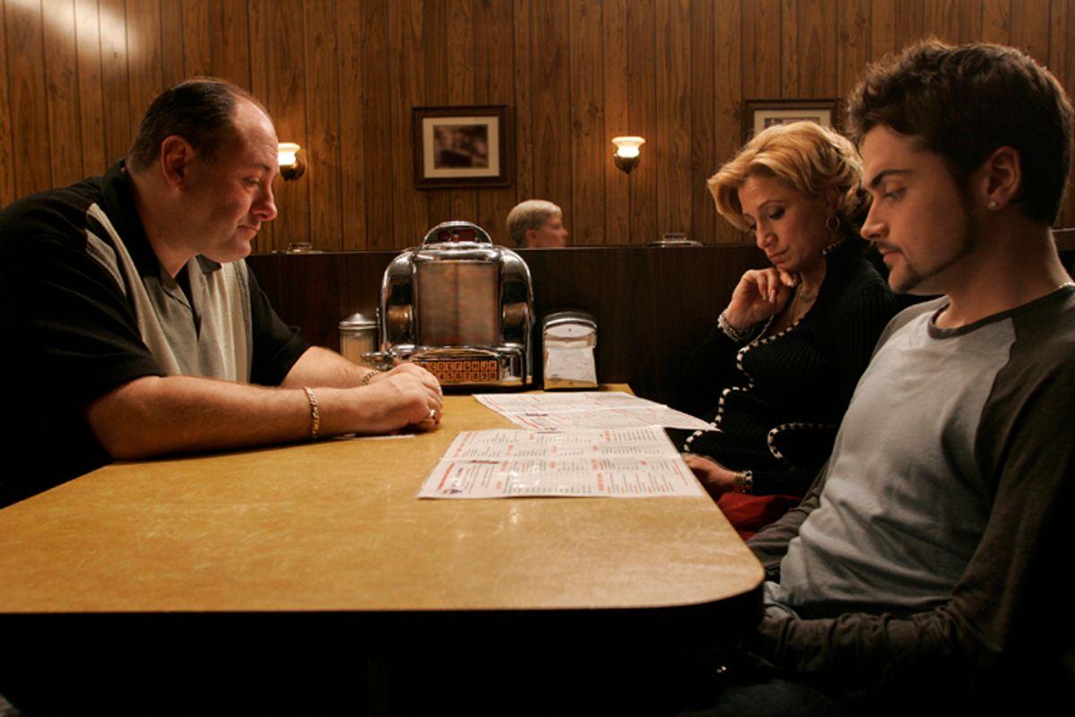"James Gandolfini, Edie Falco and Robert Iler in ""The Sopranos""           (HBO/Will Hart)"