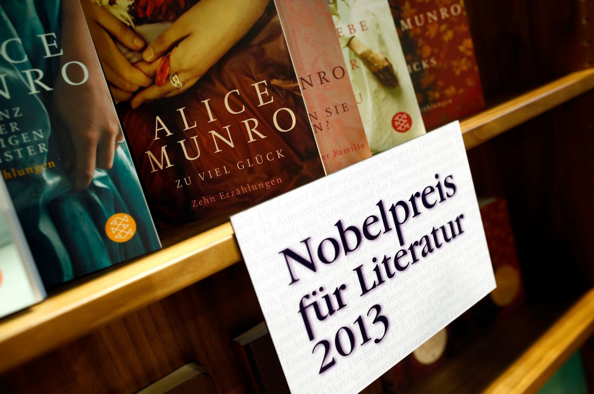 """Books by Canadian writer Alice Munro, the 2013 Nobel Prize in Literature winner, are displayed during the book fair in Frankfurt, October 10, 2013. Munro won the Nobel Prize in Literature for being the """"master of the contemporary short story,"""" the award-giving body said on Thursday.                         (Reuters/Ralph Orlowski)"""