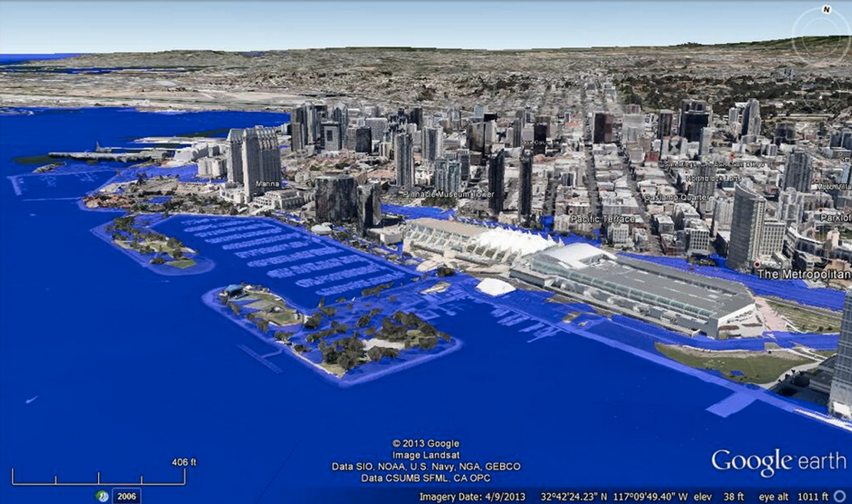 San Diego at 5 meters sea level rise (@SFriedScientist/Twitter)