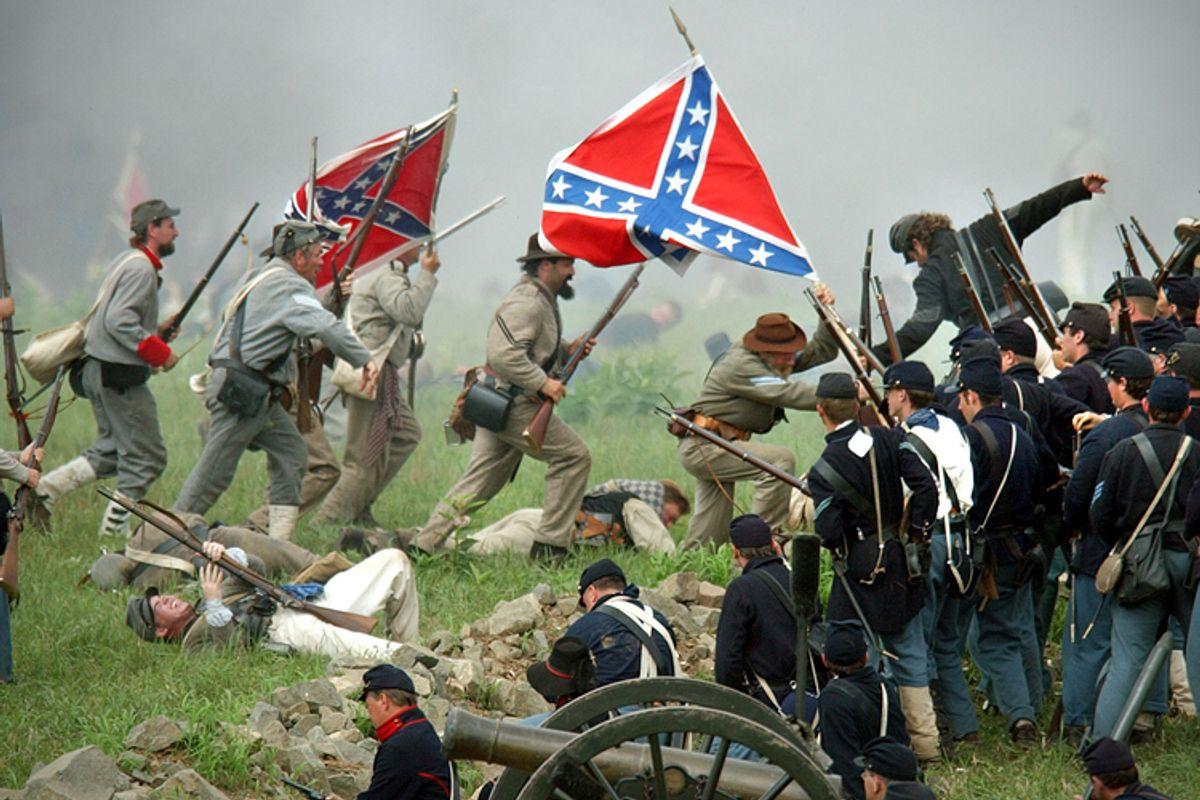 A re-enactment commemorating the Battle of Gettysburg, Aug. 10, 2003, in Gettysburg, Pa.        (AP/Carolyn Kaster)
