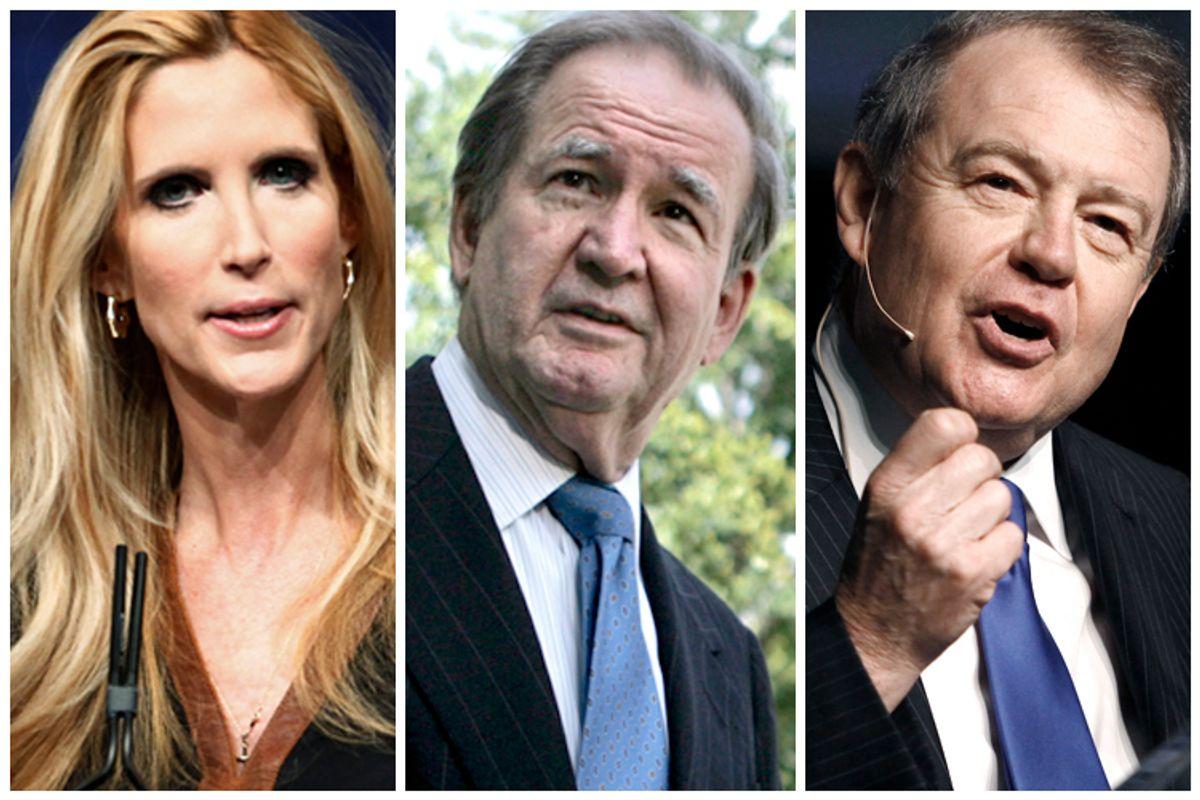 Ann Coulter, Pat Buchanon, Stuart Varney            (Reuters/Jim Bourg/AP/Lawrence Jackson/AP/Rogelio V. Solis)