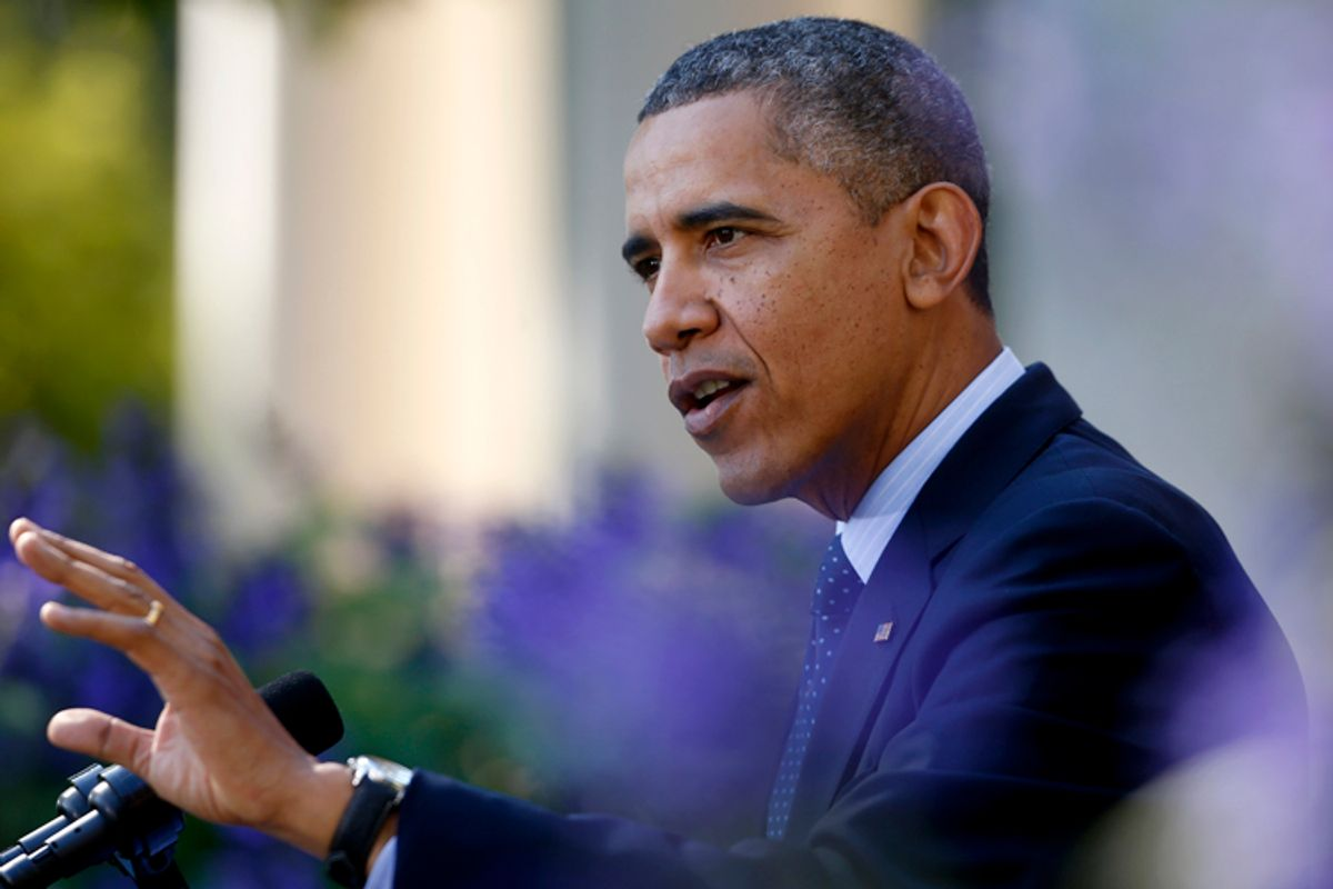 Barack Obama speaks in the Rose Garden of the White House in Washington, Monday, Oct. 21, 2013, on the initial rollout of the health care overhaul.     (AP/Charles Dharapak)