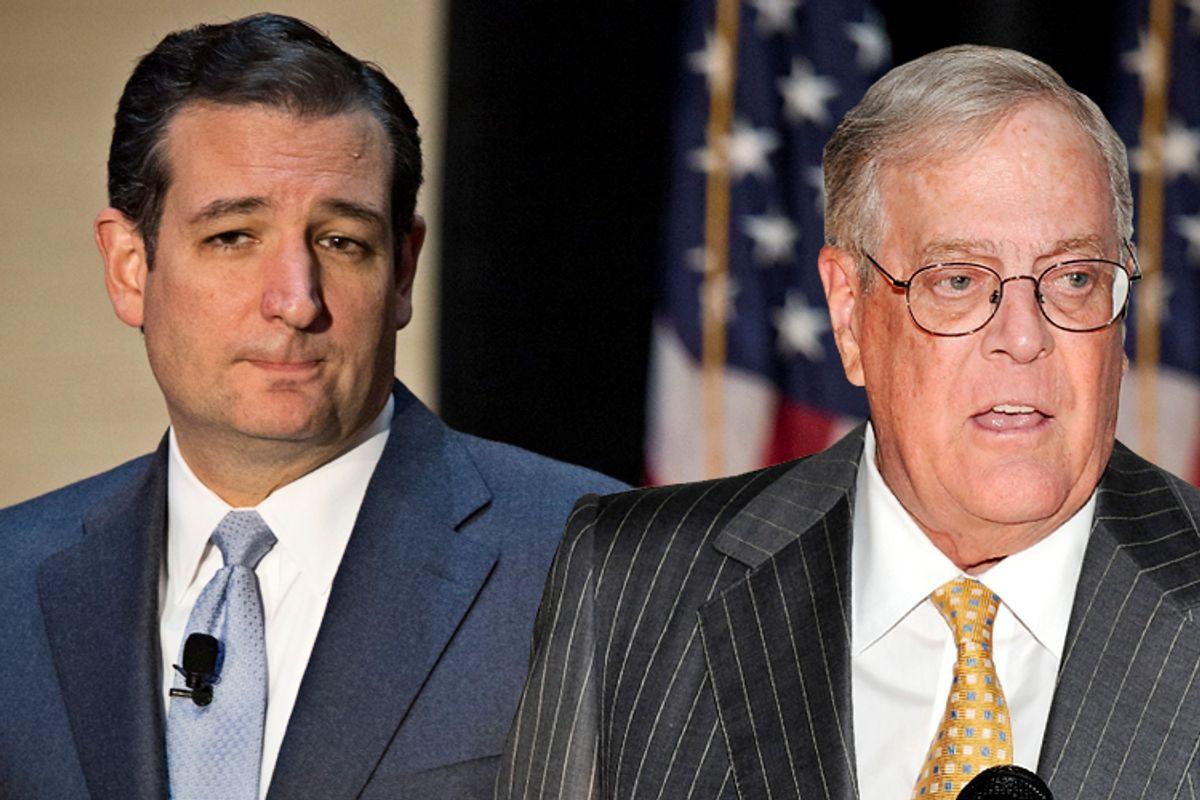 Ted Cruz, David Koch                                        (AP/Scott Morgan/Evan Agostini/Photo collage by Salon)