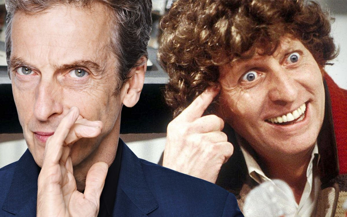 Peter Capaldi, Tom Baker as Doctor Who.           (BBC)