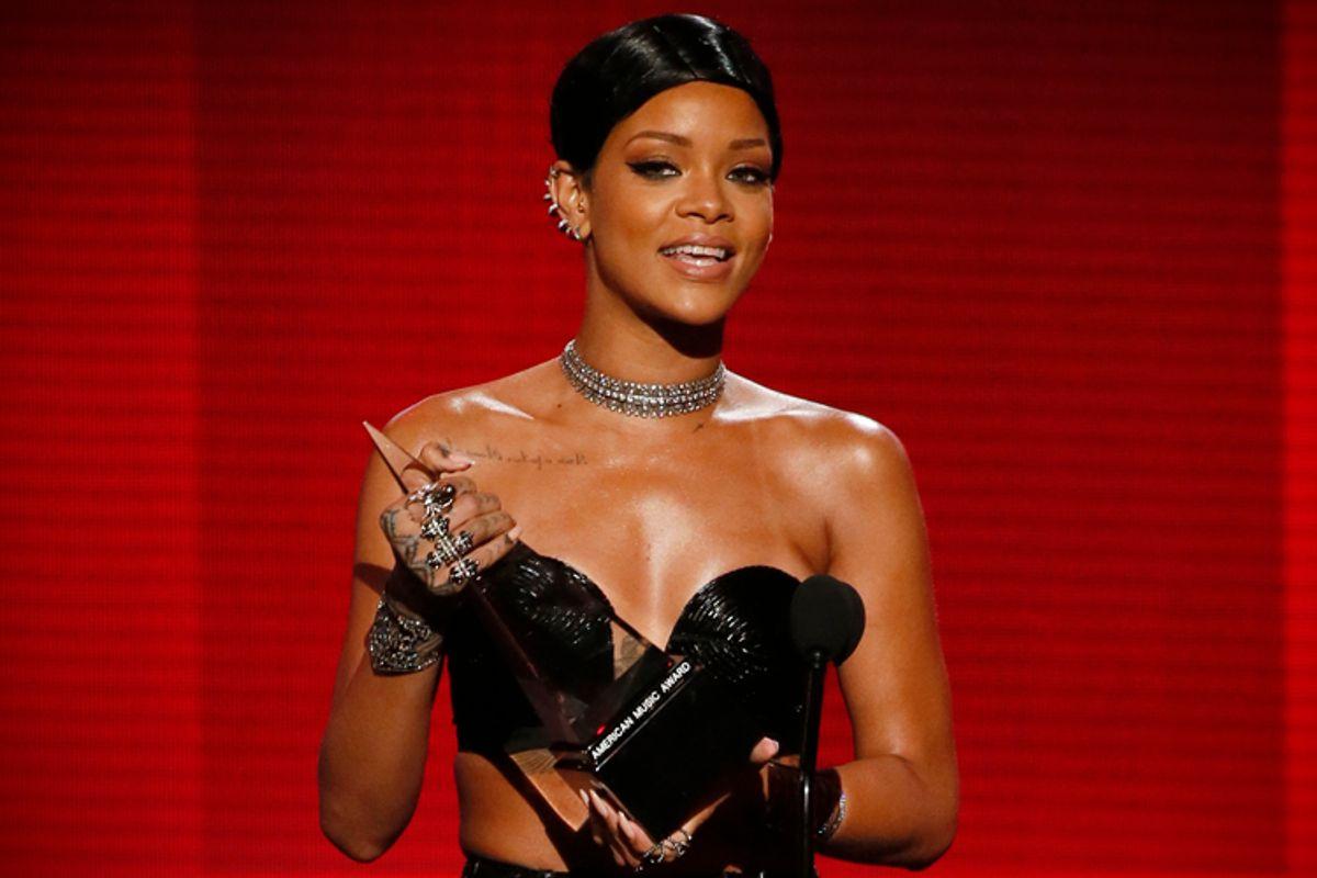 Rihanna, at the 41st American Music Awards, November 24, 2013.      (Reuters/Lucy Nicholson)
