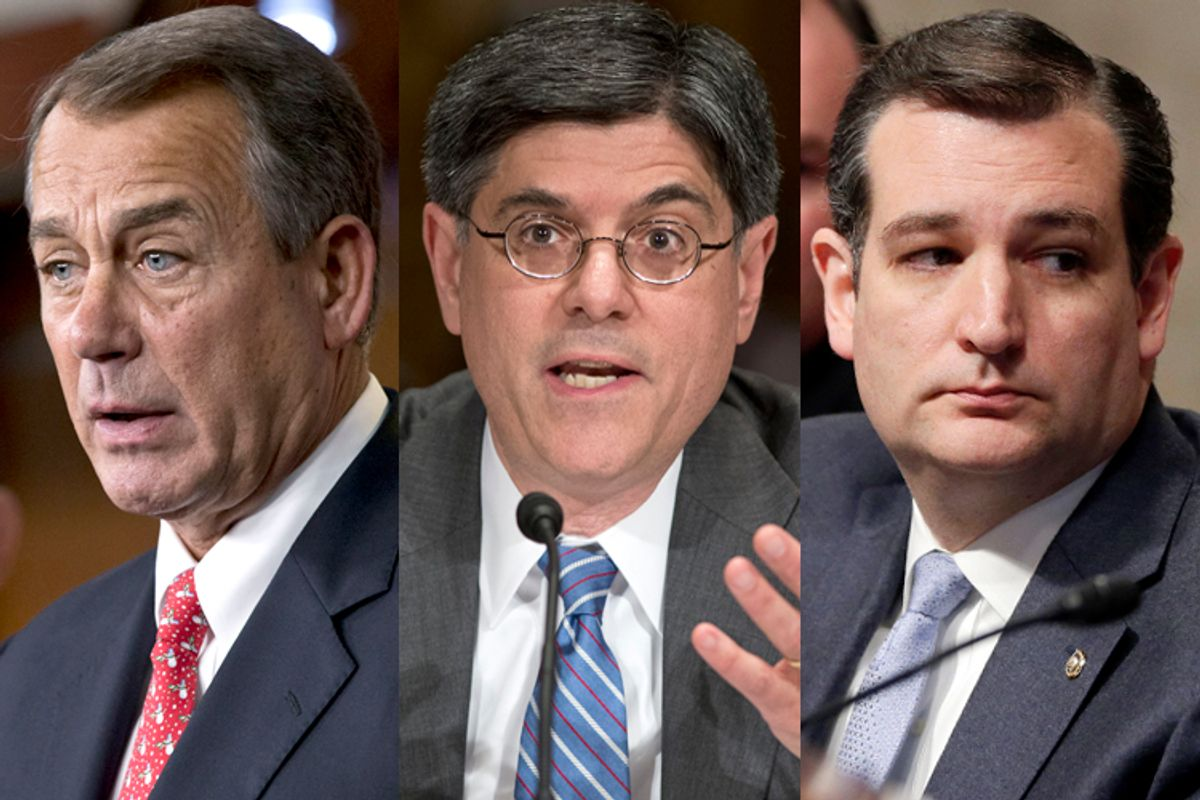 John Boehner, Jack Lew, Ted Cruz                                                       (AP/J. Scott Applewhite)