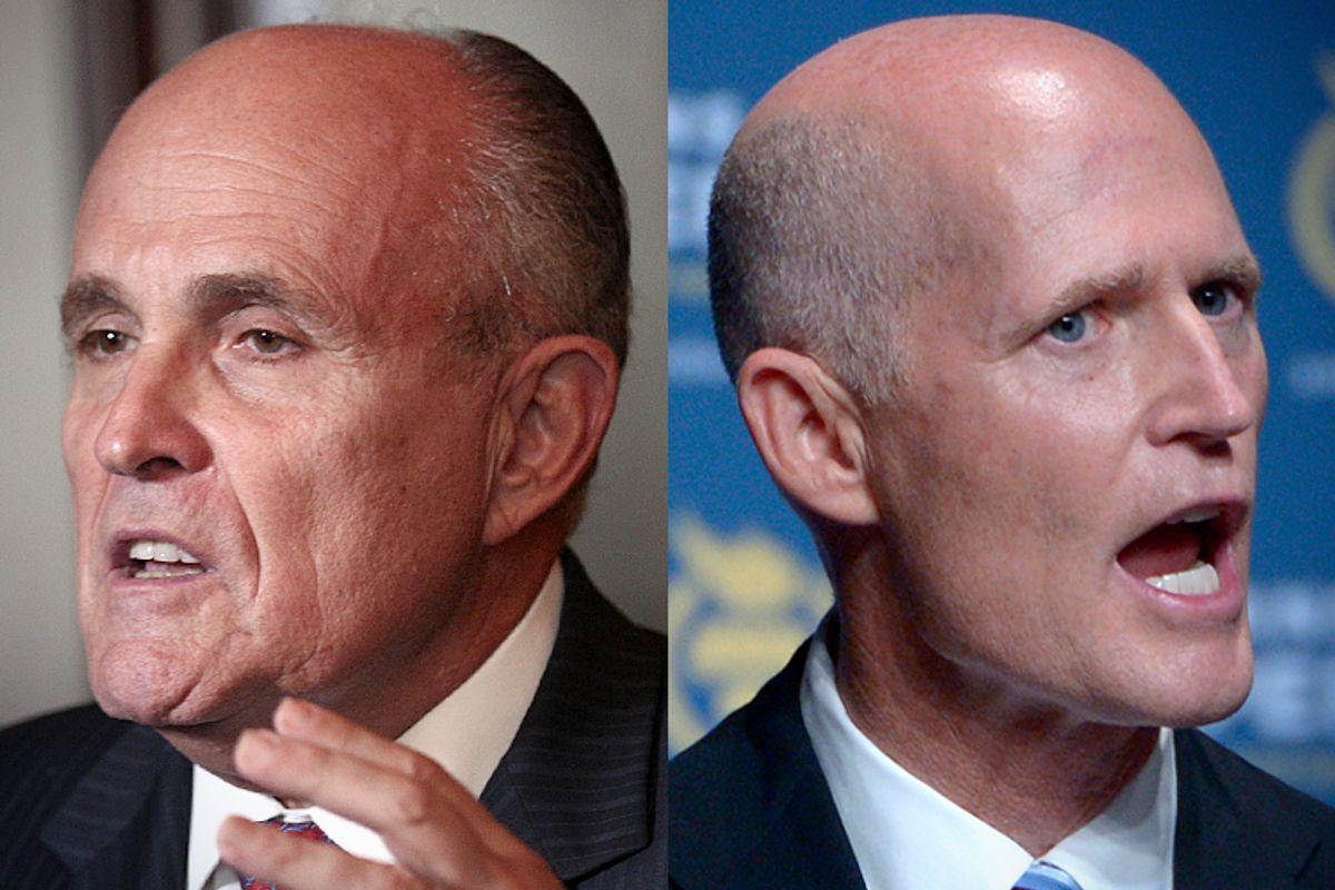 Rudy Giuliani, Rick Scott            (AP/Rick Rycroft/Phelan M. Ebenhack)