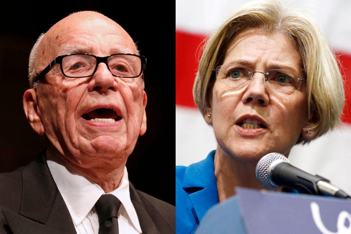 Rupert Murdoch, Elizabeth Warren                   (Reuters/David Gray/AP/Michael Dwyer)
