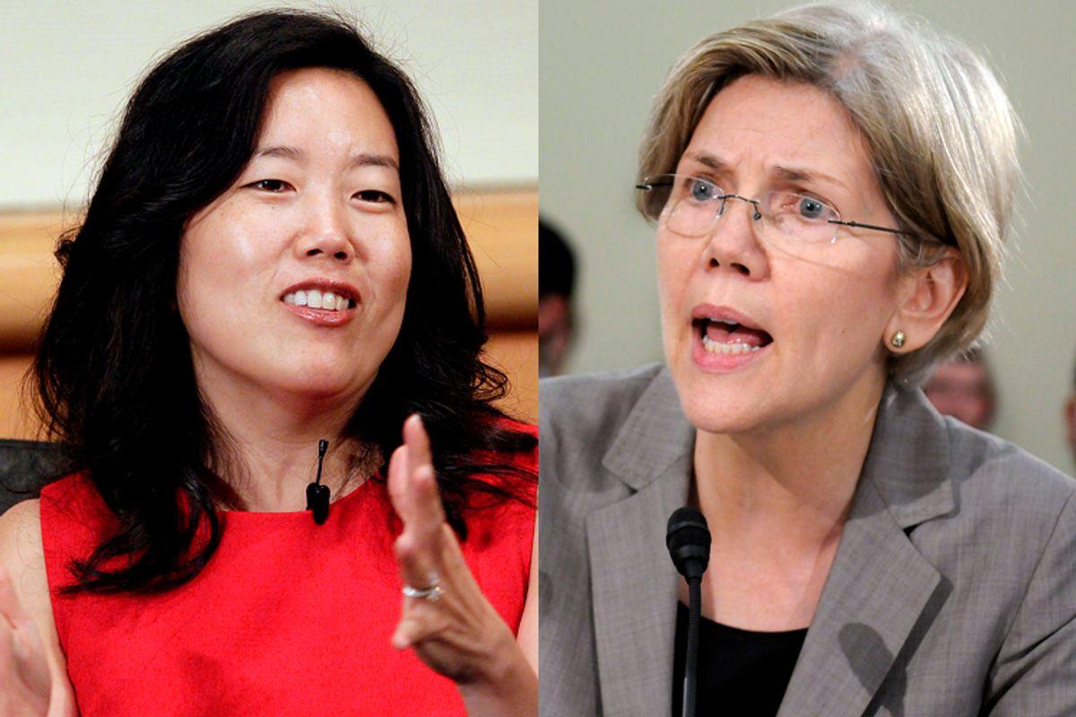 Michelle Rhee, Elizabeth Warren                  (AP/Jeff Chiu/Reuters/Jonathan Ernst)