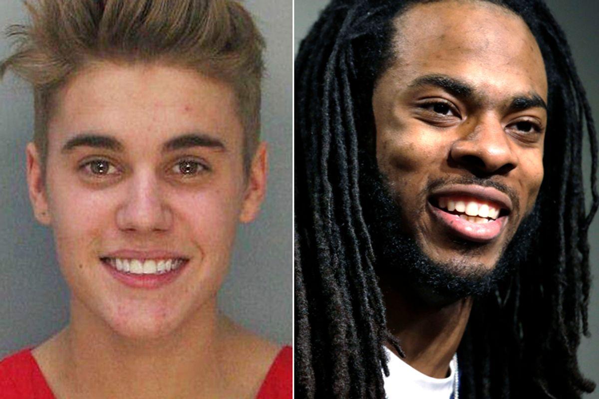 Justin Bieber, Richard Sherman         (AP/Miami Dade County Jail/Elaine Thompson)