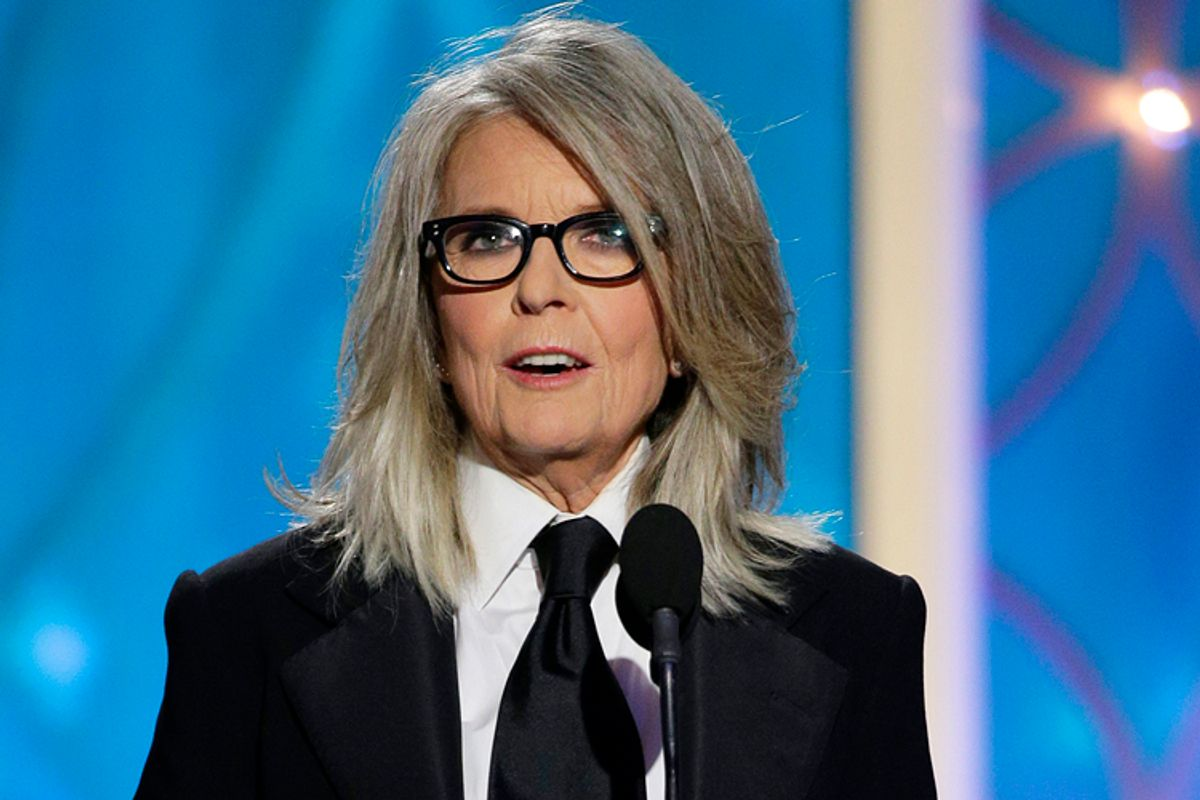 Diane Keaton accepts the Cecil B. DeMille award on behalf of Woody Allen at the Golden Globe Awards, Jan. 12, 2014.    (AP/Paul Drinkwater)