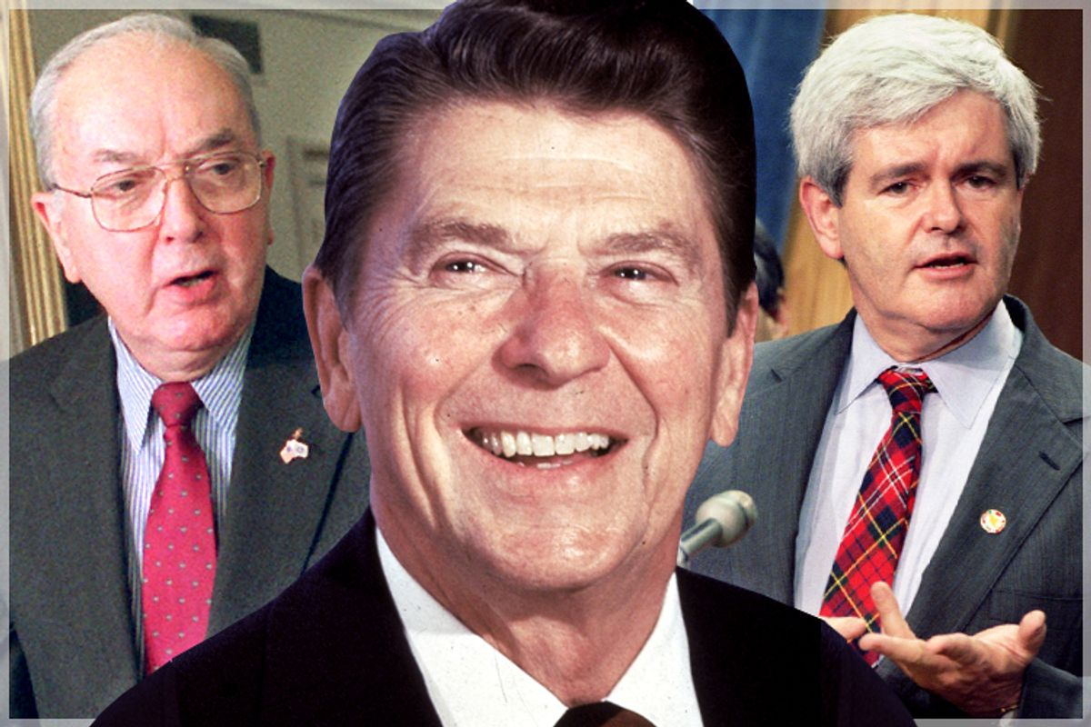 Jesse Helms, Ronald Reagan, Newt Gingrich           (AP/Dennis Cook/Reuters/Mike Theiler/Salon)