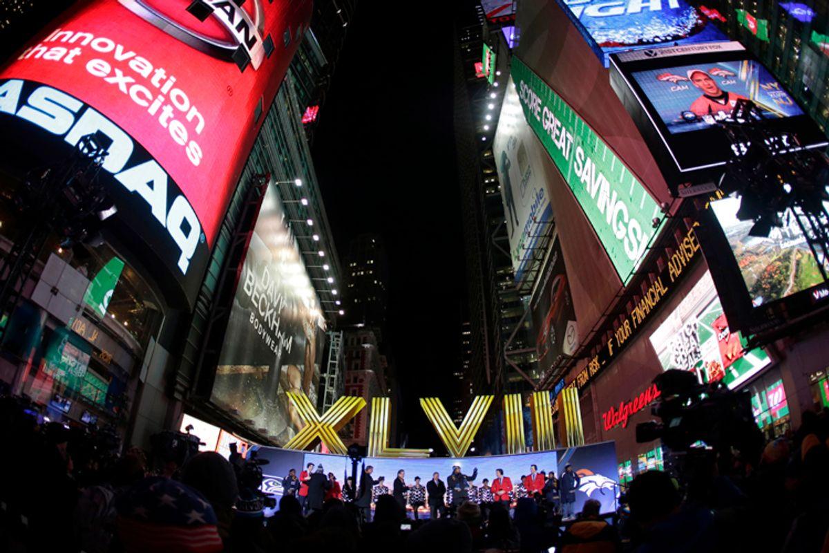 Super Bowl Boulevard in Times Square, Jan. 29, 2014, in New York.      (AP/Charlie Riedel)