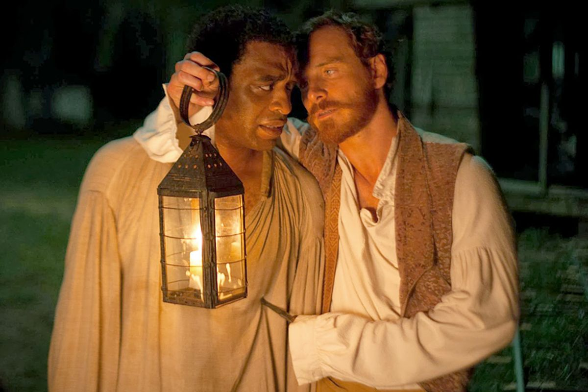 """Chiwetel Ejiofor and Michael Fassbender in """"12 Years a Slave.""""      (Fox Searchlight Pictures)"""