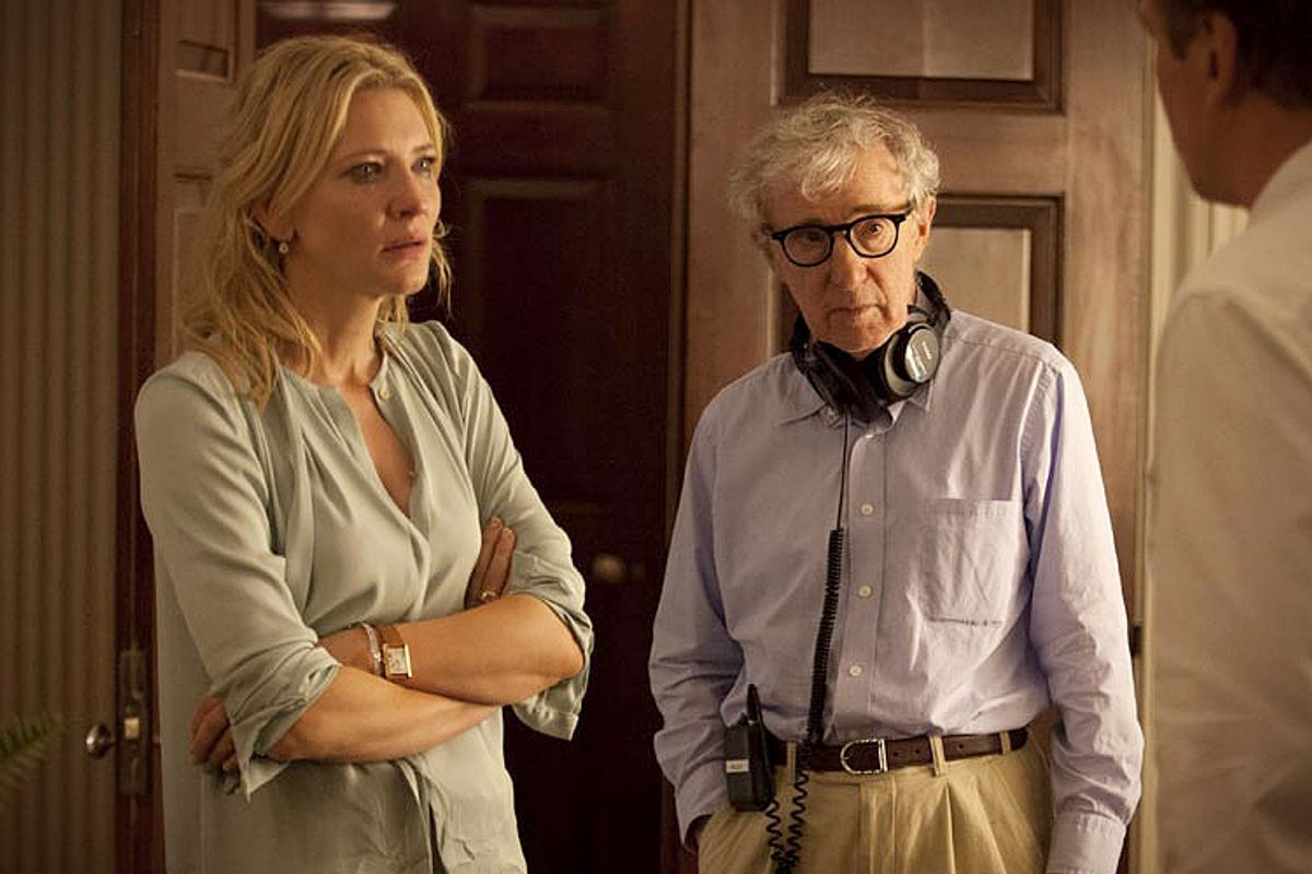 """Cate Blanchett and Woody Allen on the set of """"Blue Jasmine""""         (Sony Pictures Classics)"""