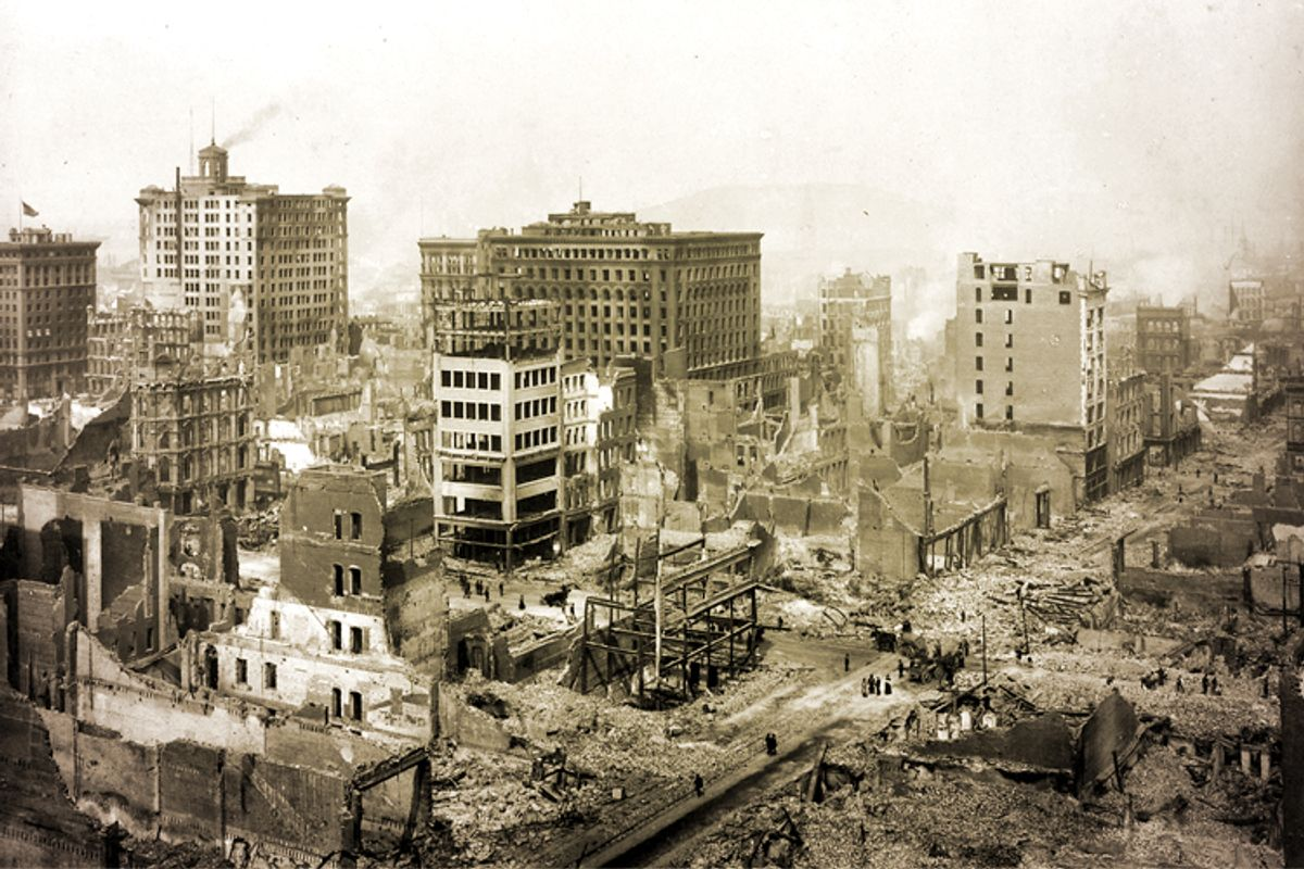 The San Francisco Earthquake of 1906, in the vicinity of Post St. and Grant Ave.                (Wikimedia/photo tinting by Salon)