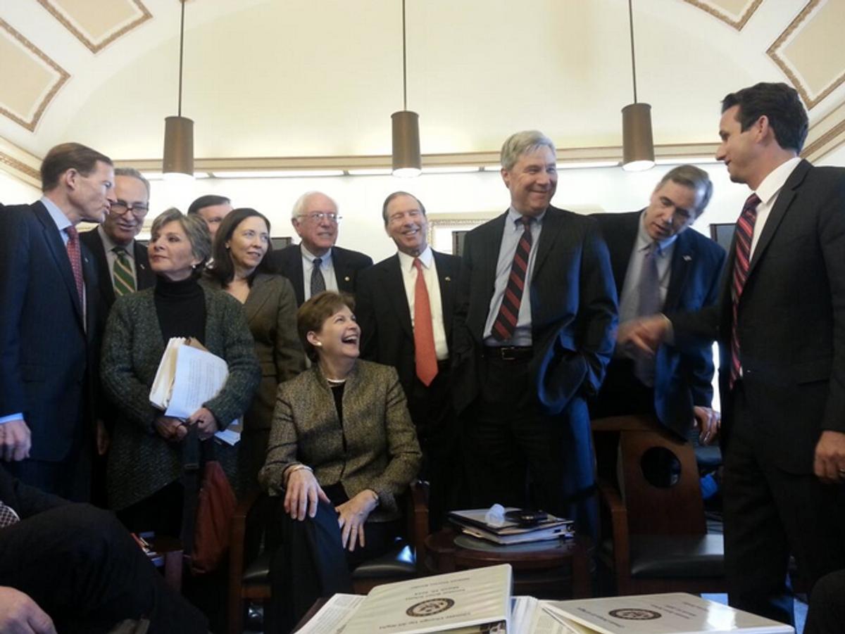 Senators preparing for their speeches (@SenWhitehouse/Twitter)