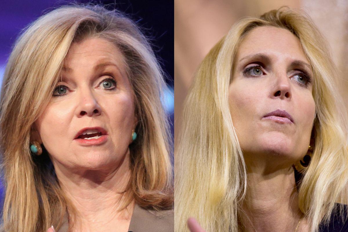Marsha Blackburn, Ann Coulter                         (AP/Brian Dowling/Jeff Malet, maletphoto.com)