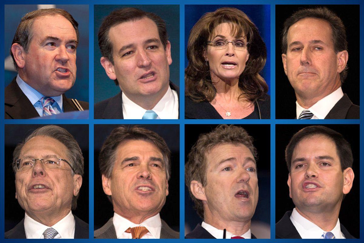 Clockwise, from top left: Mike Huckabee, Ted Cruz, Sarah Palin, Rick Santorum, Marco Rubio, Rand Paul, Rick Perry, Wayne LaPierre.     (Jeff Malet, maletphoto.com)