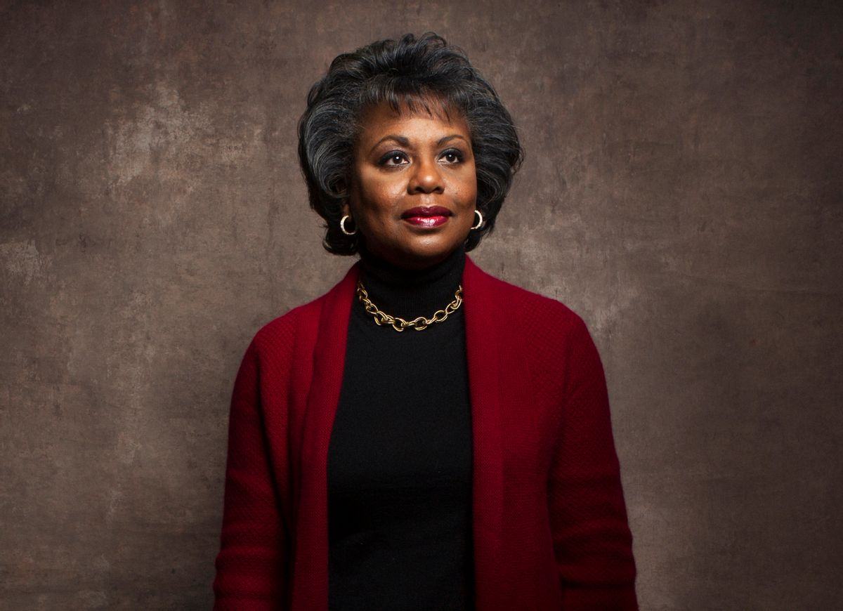 """FILE - This Jan. 18, 2013 file photo shows Anita Hill during the Sundance Film Festival in Park City, Utah. Hill made national headlines in 1991 when she testified that then-Supreme Court nominee Clarence Thomas had sexually harassed her. Now, more than 20 years later, director Freida Mock explores Hill's landmark testimony and the resulting social and political changes in the documentary """"Anita."""" (Photo by Victorial Will/Invision/AP, File) (Victoria Will/invision/ap)"""